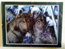 Zwei Wölfe vor verschneiten Zweigen