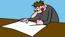Comicfigur schreibt