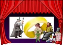 Illustration des Themas: Zauberer, Elfe, Zwerg und Ring auf einer Leinwand.