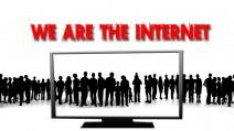 """Grafik """"We are the internet"""" - Viele Leute, links rechts und auf dem Bildschirm!"""
