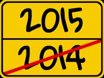 Ortsende-Schild mit Jahreszahlen. 2014 zuende, Beginn 2015.