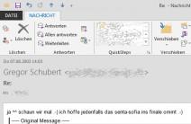 Screenshot einer E-Mail (Ausschnitt) vom 7.8.2003
