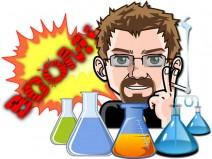 Mein Avatar umgeben von einem Aufbau eines chemischen Experiments. Verschieden gefüllte Kolben und die Grafik einer Explosion im Hintergrund.