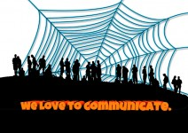 Ein Spinnennetz im Hintergrund. Davor schattiert eine Gruppe Menschen. Im Vordergrund der Schriftzug: We love to communicate.