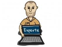 Zeichnung: Mann hält Laptop hin. Auf dem Bildschirm steht Experte.