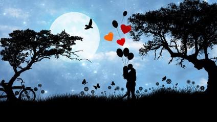 Verliebtes Pärchen als Schatten in Landschaft mit Bäumen, Luftballons und Mondschein