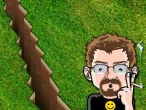 Erdspalt in Rasen. Mein Avatar nimmt das mit weit aufgerissenen Augen zur Kenntnis.