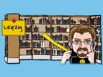 Regal mit Büchern. Daran ein Ortsschild von Leipzig. Davor mein Avatar mit einem Maßband ausgestattet.