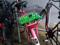 Ein rosa Fahrrad mit Gras und Blümchen im Korb als Unterlage. (Plastik)