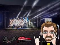 Konzertbühne bei Nacht mit Logo der Blogparade und meinem Avatar im Vordergrund