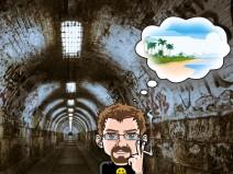 Ein düsterer Tunnel, spärlich beleuchtet mit beschmierten Wänden. Im Vordergrund mein Alterego mit Gedankenblase. Darin ein traumhafter Strand.