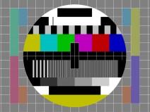 Ein Testbild wie es früher im Fernsehen zu sehen war, wenn gerade auf dem jeweiligen Sender nichts gesendet wurde.