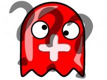 Ein roter Geist mit Plus im Gesicht und drei halbtransparenten Fragezeichen über ihn gelegt