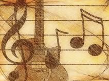 Schraffierte Zeichnung in Brauntönen koloriert. Noten, Violinschlüssel und eine Gitarre im Hintergrund.