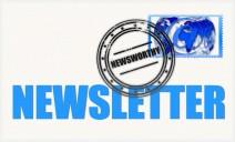 """Bild eines Briefumschlages mit nerdiger Briefmarke und der breiten Aufschrift """"Newsletter"""""""