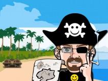 Mein Avatar als Pirat auf einer Insel. In der Hand eine Schatzkarte und im Hintergrund steht eine Truhe auf der Insel.