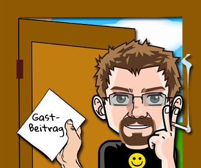 """Mein Avatar steht in geöffneter Tür mit einem Schriftstück in der Hand. Aufschrift """"Gastbeitrag""""."""