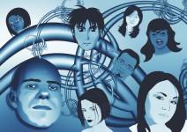 Blaue Grafik mit verschiedenen Gesichtern