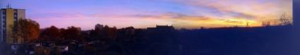 Ein Panorama-Foto bei Sonnenuntergang von der alten Heimat aus aufgenommen