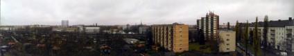 Ein Panorama-Foto von der neuen Heimat aus aufgenommen