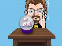 Mein Alter Ego schaut erstaunt auf einen Tisch. Darauf eine Kristallkugel, die im Comic-Stil einen schlafenden Pinguin zeigt, der von seiner Liebsten träumt.