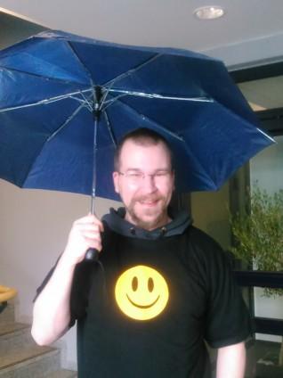 Foto von mir samt Regenschirm