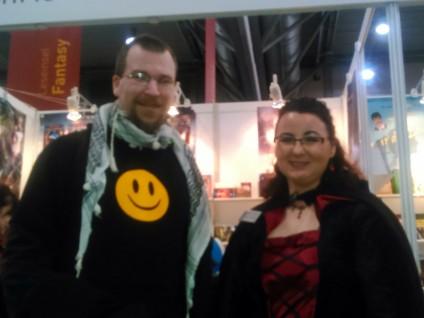 Foto von Lara Greystone und mir an ihrem Stand