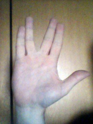 Foto des vulkanischen Handgrußes