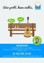 Flyer zum Konzert der Wundertypen am 28.05.2016 im Spiegelsalon