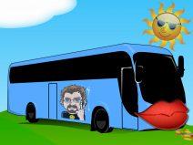 Ein Reisebus mit meinem Avatar auf der Seite und einem Kuss-Mund an der Front