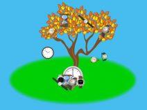 Ein herbstlicher Baum, von dem statt Blättern Uhren fallen