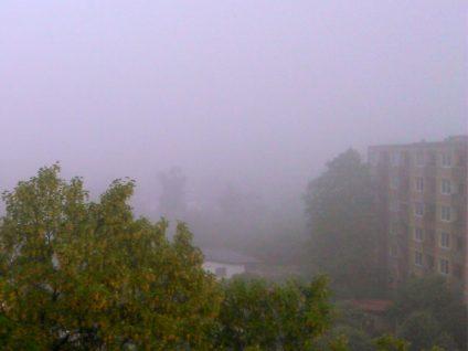 Foto von meinem Balkon aus bei Nebel