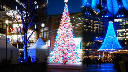 Eine Foto-Collage aus drei Weihnachtsfotos am Potsdamer Platz