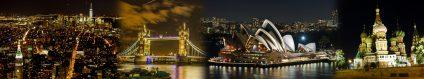 Foto-Collage, die ich aus einzelnen Fotos bei Nacht der Metropolen New York, London, Sydney und Moskau erstellt habe