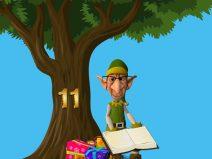 Grafik: Baumstamm mit der Nummer 11 und ein Weihnachtself mit Brille und Buch