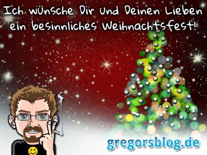 """Grafik: """"Ich wünsche Dir und Deinen Lieben ein besinnliches Weihnachtsfest!"""" mit meinem Comic-Ich und einem Weihnachtsbaum"""