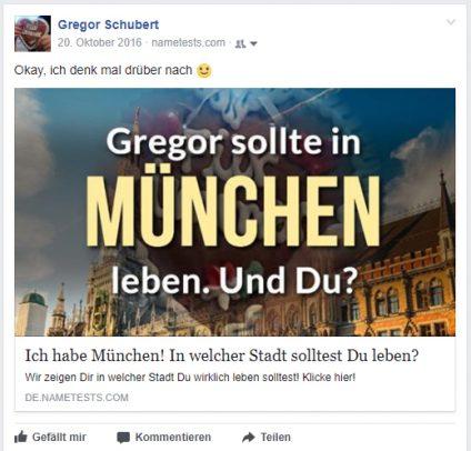 """Screenshot eines Beitrags über den Generator nametests mit der Aussage """"Gregor sollte in München leben"""""""
