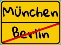 Ortschild: Ortsende Berlin, Ortsanfang München