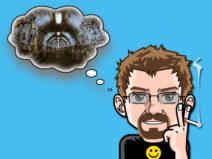 Grafik: Mein Comic-Ich mit Gedankenblase. Darin das Bild eines düsteren Tunnels.