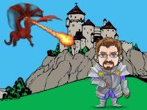 Grafik: Mein Comic-Ich in Ritterrüstung. Im Hintergrund eine Burg, die von einem Drachen attackiert wird.
