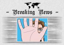 Grafik: Zeitung mit Bild von meinem Comic-Ich auf der Titelseite. Mit der Hand verdecke ich die Kamera.
