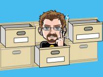 Grafik: Mein Comic-Ich in der Schublade eines Regals