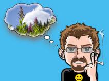 Grafik: Mein Comic-Ich mit einer Gedankenblase. Darin ein Bild einer Wiese und darüber strahlend blauer Himmel.