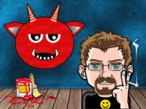 Grafik: Mein Comic-Ich vor einer Wand. Darauf ein Teufelsgesicht und auf dem Boden steht noch rote Farbe.