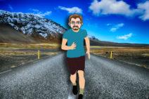 Grafik: Mein Comic-Ich rennt in sportlichen Klamotten auf einer Straße. Im Hintergrund sind Berge zu sehen.