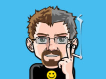 Grafik: Mein Comic-Ich mit einer Hälfte der Haare grau.