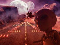 Bild von einem Alien und einen Space Shuttle, das irgendwo im Nirgendwo landet