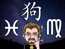 Grafik von meinem Comic-Ich vor dem Sternenhimmel und den Symbolen von meinem Sternzeichen, meinem Aszendenten und chinesischen Jahreszeichen