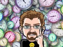 Bild von lauter Uhren und meinem Comic-Ich davor