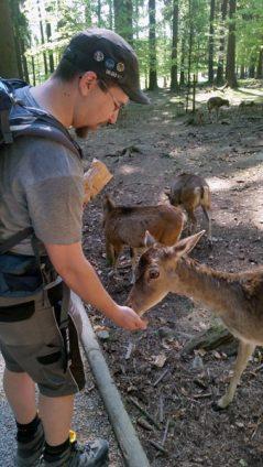 Foto von mir beim Füttern von Rehen im Wildpark Poing